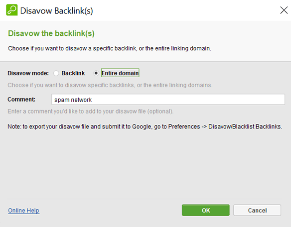Disavow the backlink or entire domain