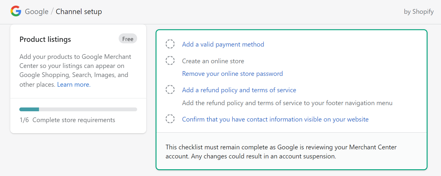shopify product listings settings on google merchant center