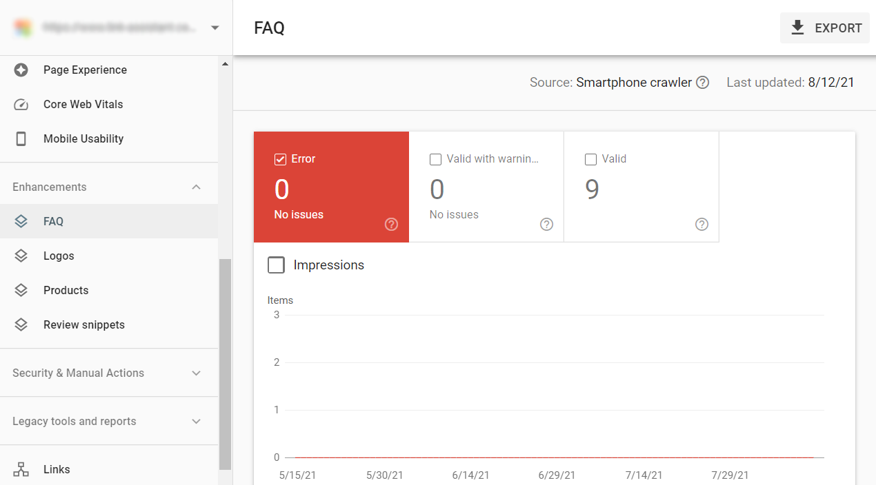 google search console enhancements report