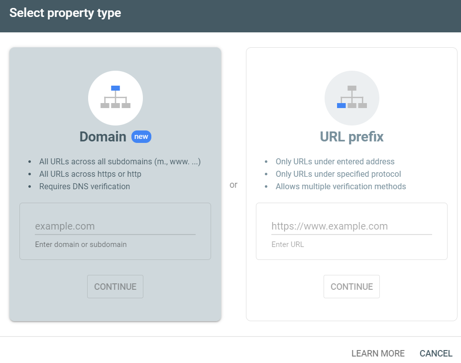add domain to google search console