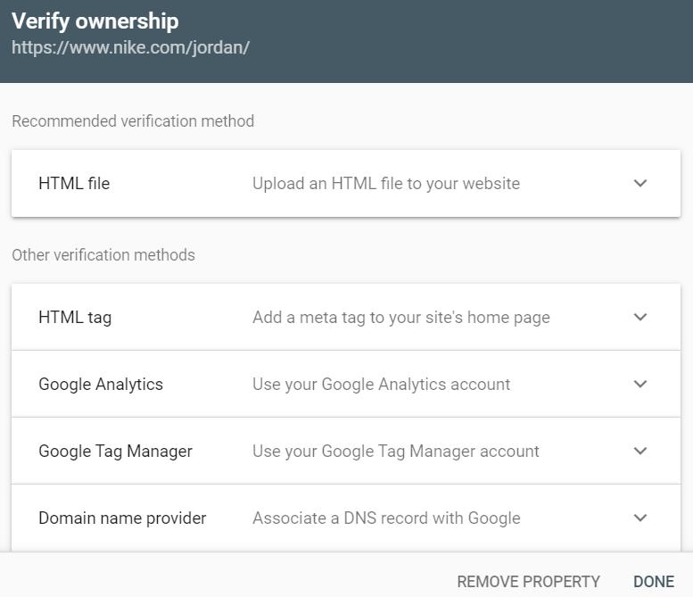 domain verification options