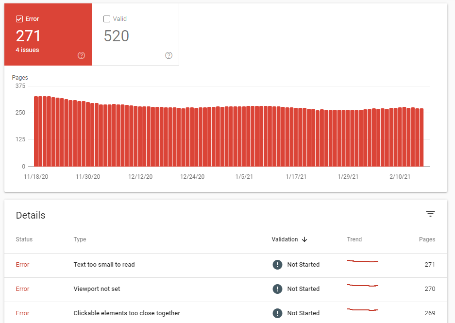 google search console mobile usability report