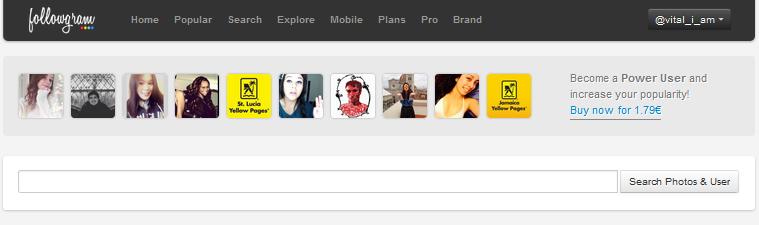 Followgram search bar