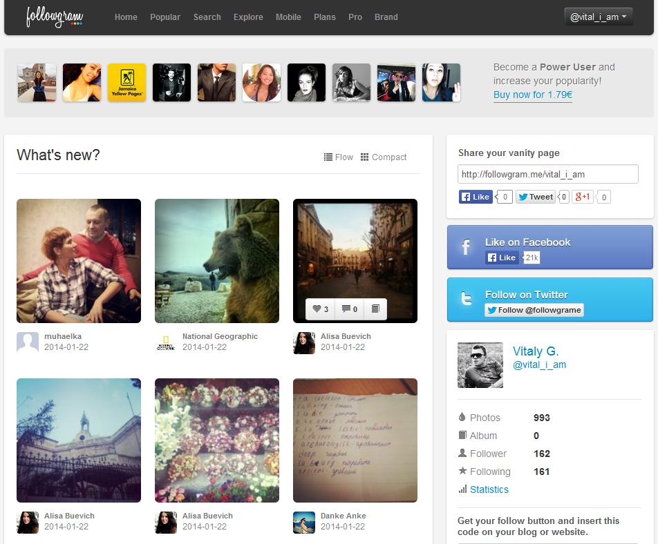 Followgram dashboard