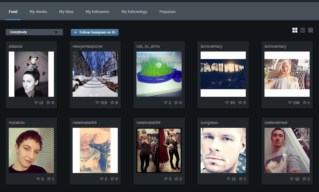 Iconosquare gallery of latest uploads