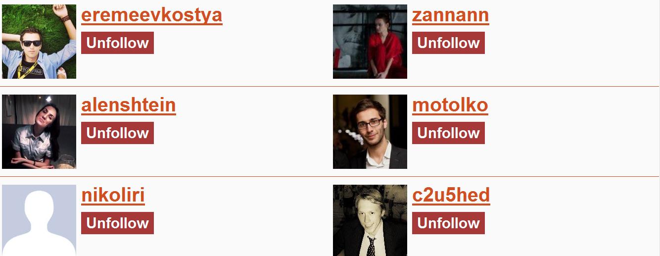 Unfollowgram profiles
