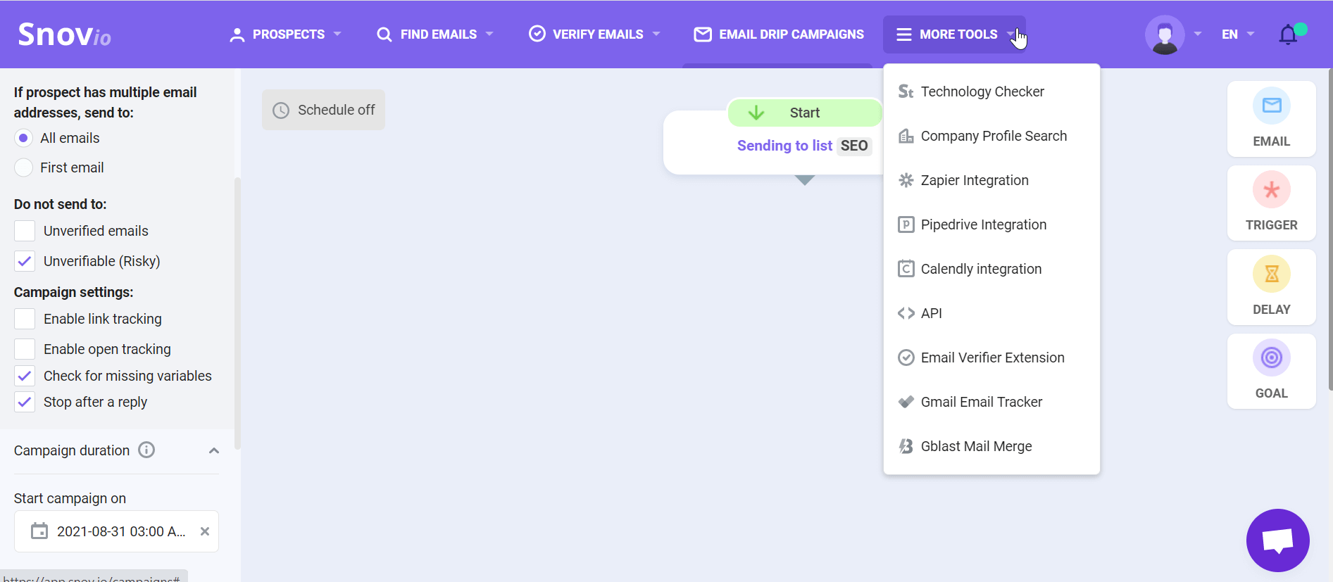 Email outreach workflow in Snovio