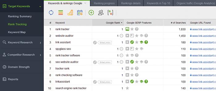 Keyword Rankings stats in Rank Tracker