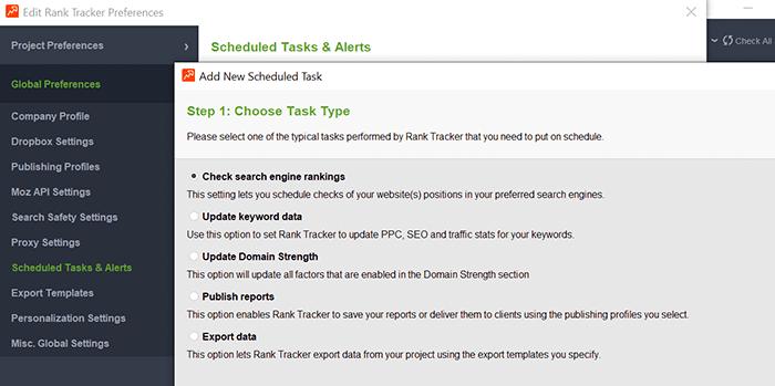 Schedule tasks and alerts in Rank Tracker