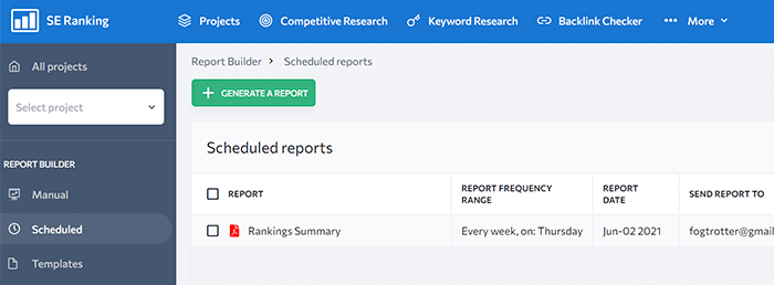 SE Ranking scheduler for publishing SEO reports