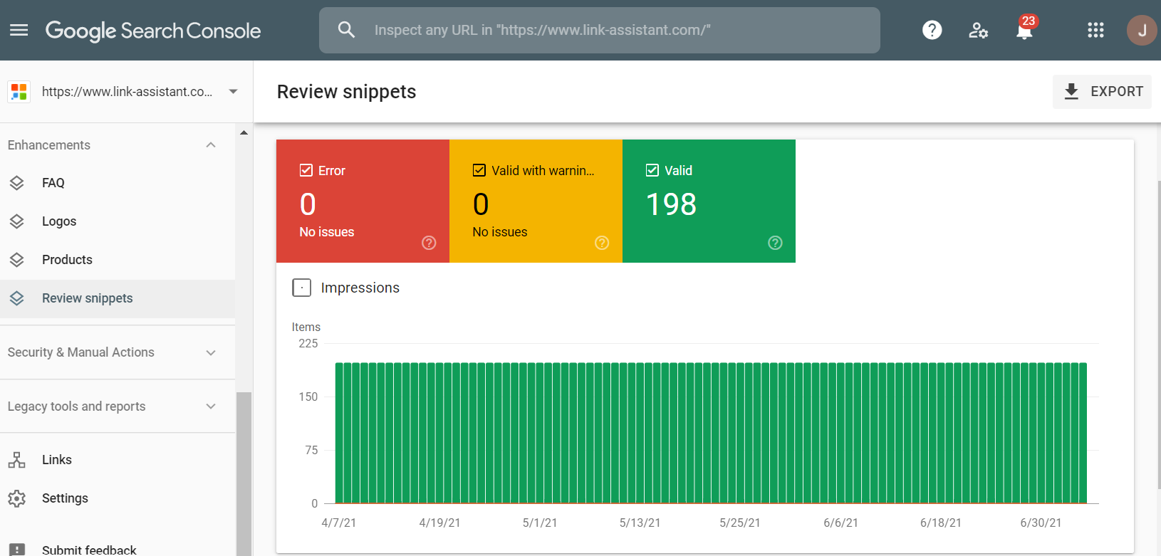 Enhancements report in Google Seach Console
