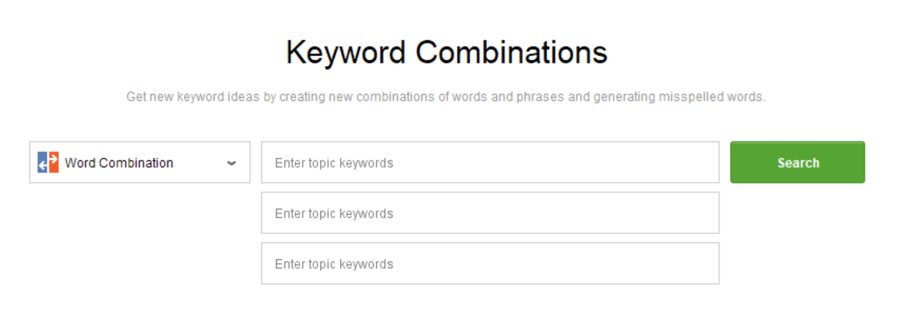 Keyword combinations in Rank Tracker