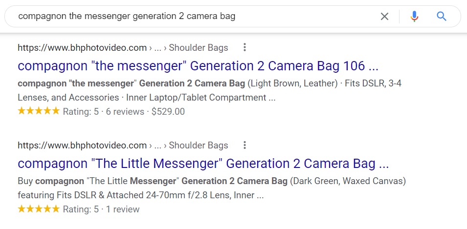 Product snippets in search