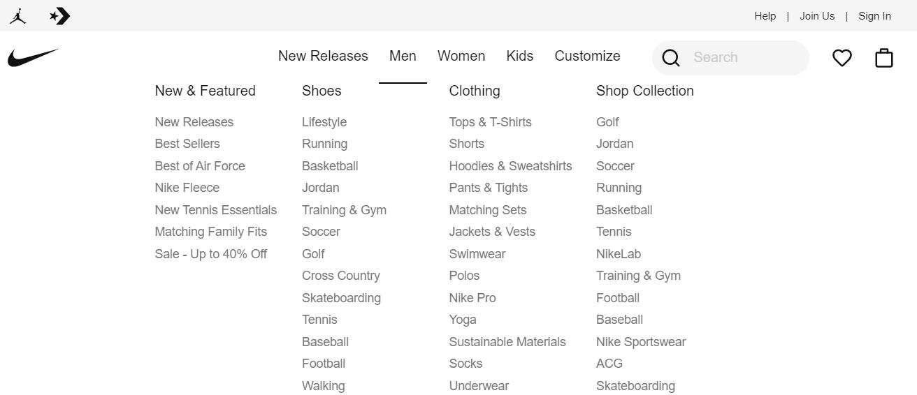 Nike.com website structure