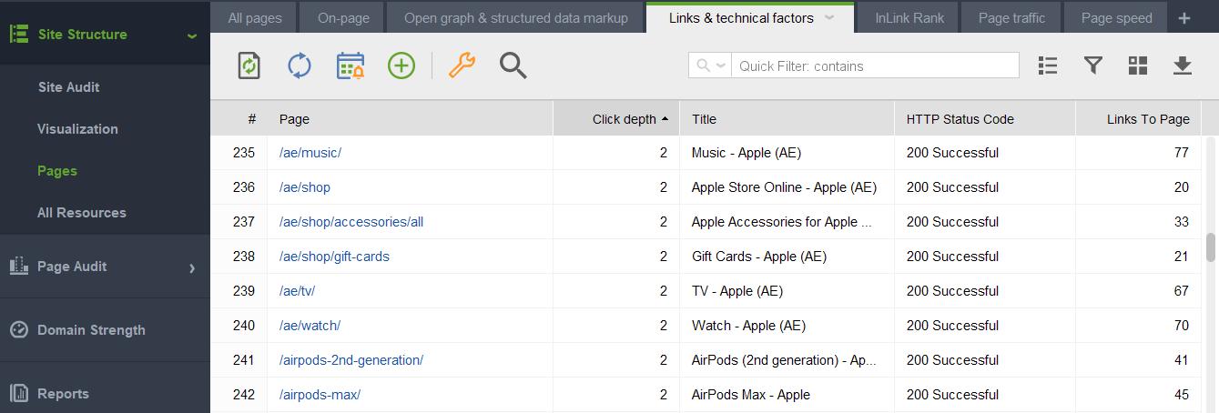 Click Depth analysis in WebSite Auditor