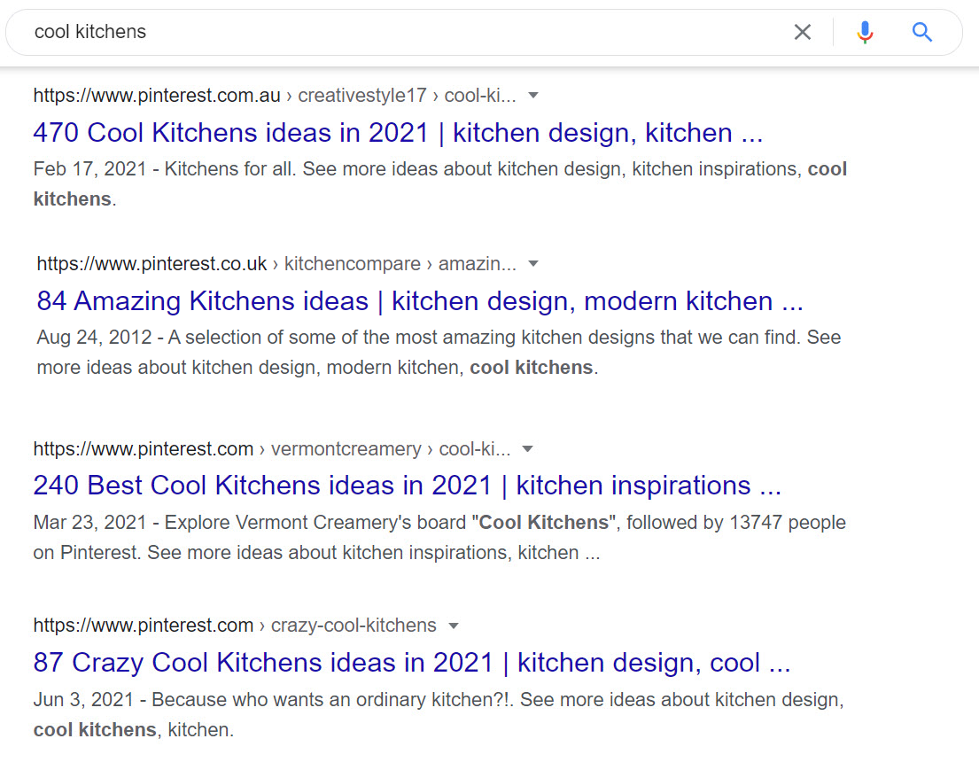 google SERP results for kitchen ideas