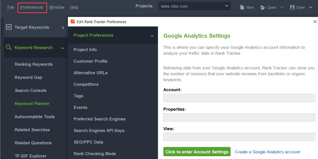 google analytic integration with rank tracker