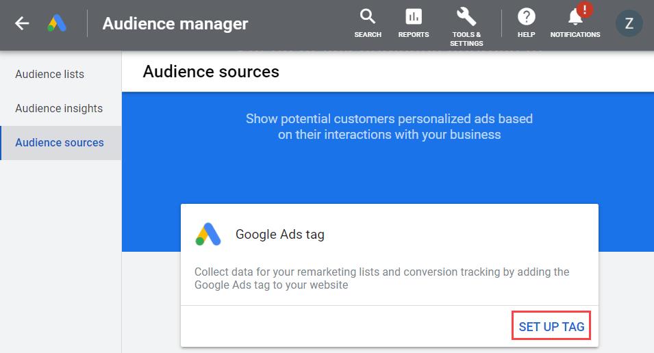 google ads tag card