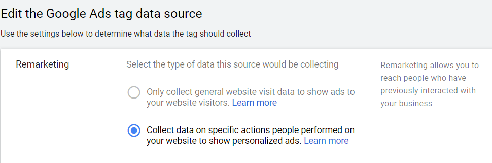 edit the google ads tag data source
