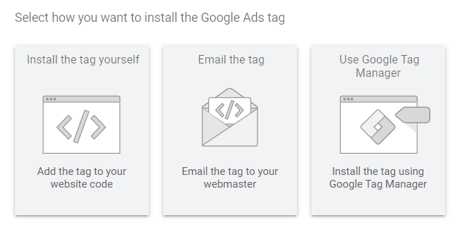 selecting the way to install google ads tag