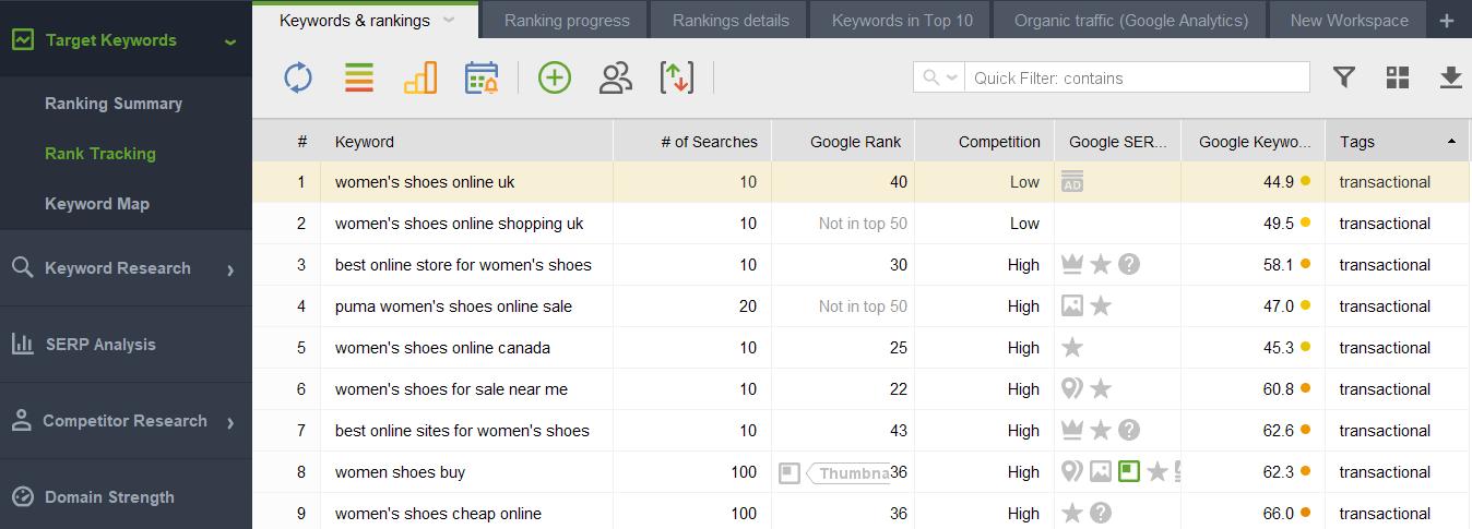 track the new keywords