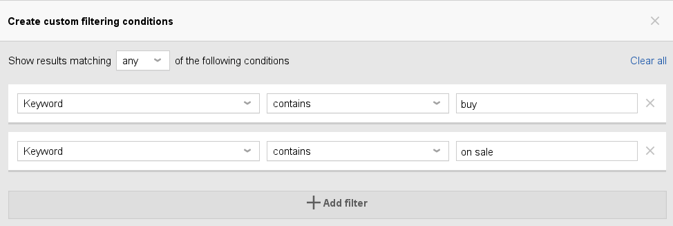 filtering conditions of rank tracker
