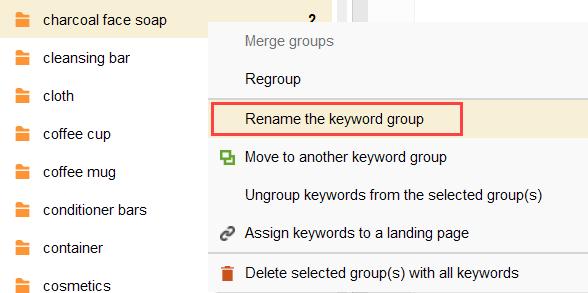 rename keyword group