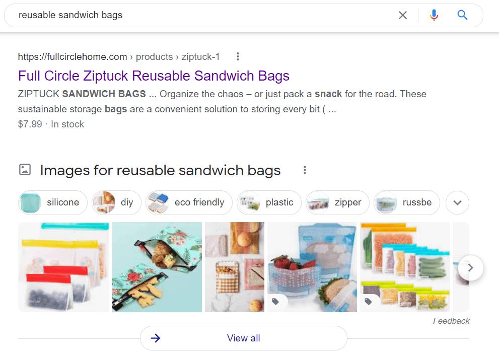 reusable sandwich bags serp