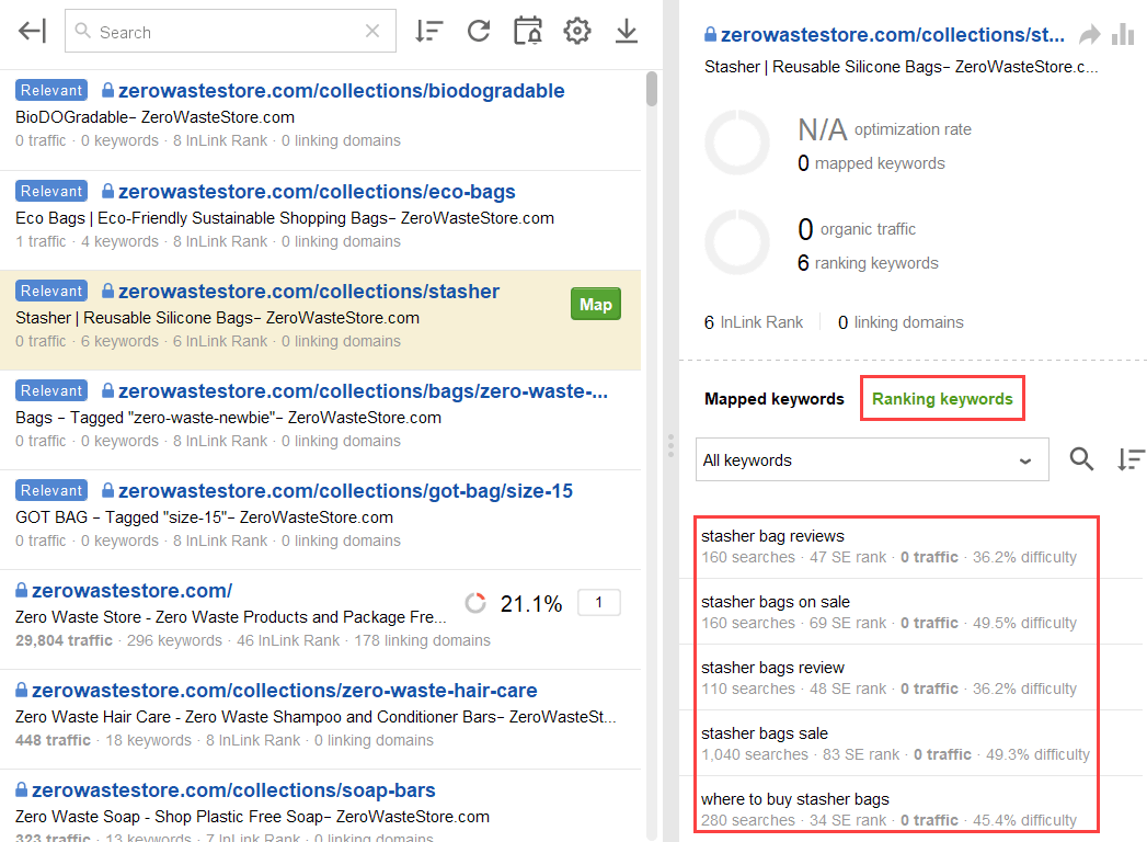 ranking keywords of the suggested page conflict with new keywords
