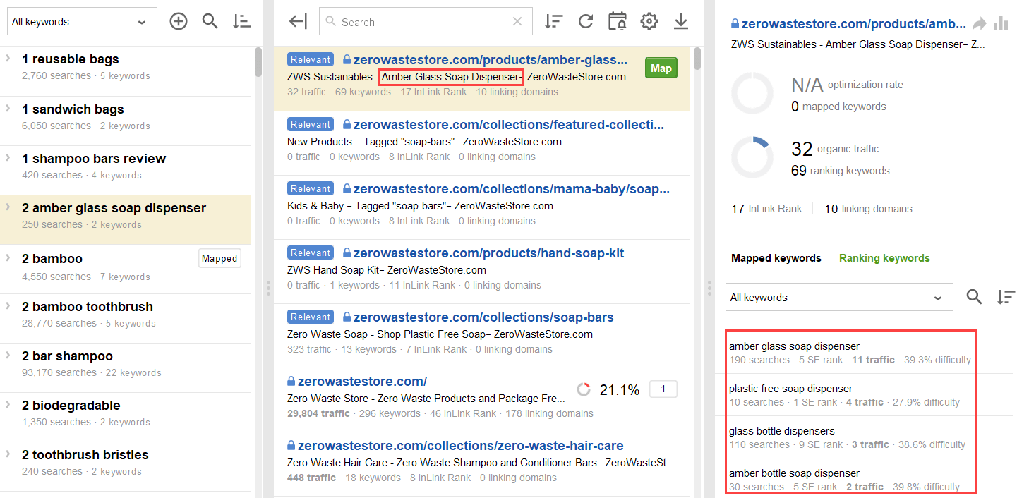 ranking keywords of the suggested page do not conflict with new keywords