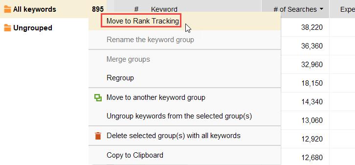 moving keywords to rank tracking
