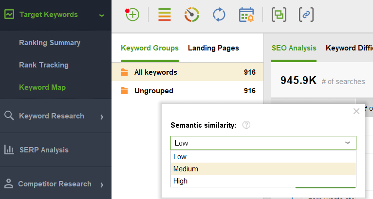 keyword map of rank tracker