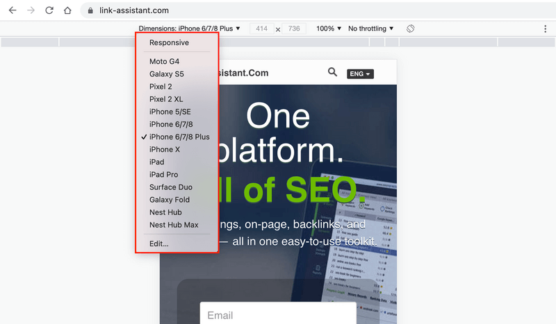 How to check a mobile site in Google Chrome