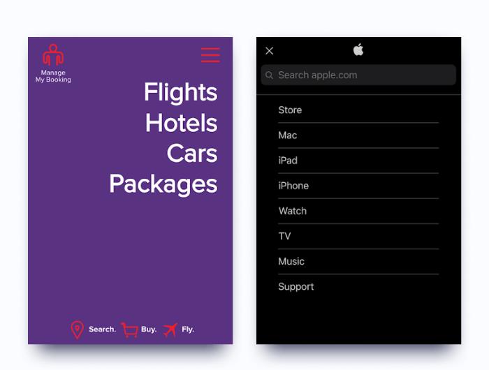 Examples of good mobile menus