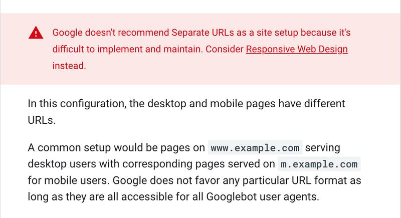 Google's take on separate URLs