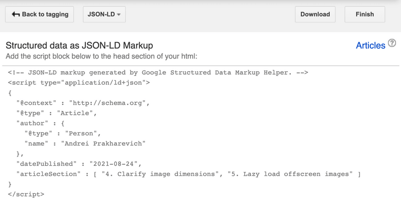 Example of HTML generated by Google Markup Helper