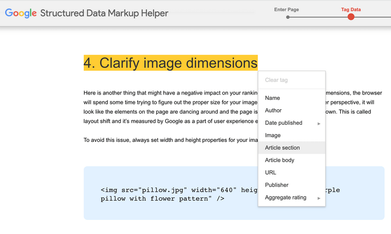 This is how tagging is done in Google Markup Helper