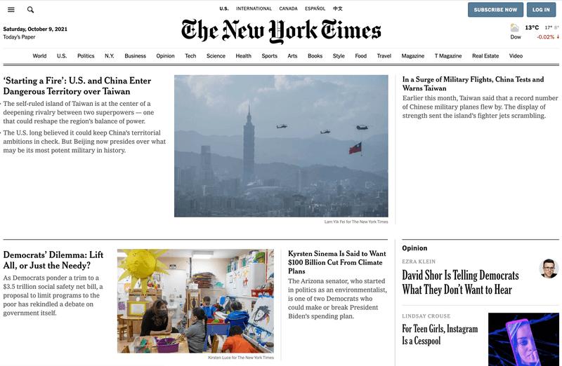 New York Times homepage on desktop