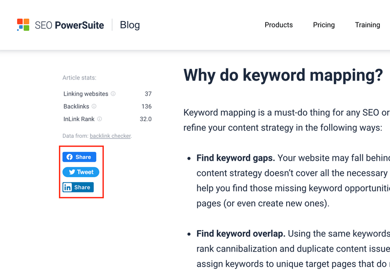 Example of social sharing buttons on desktop