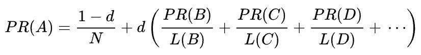 mathematical formula of the original PageRank