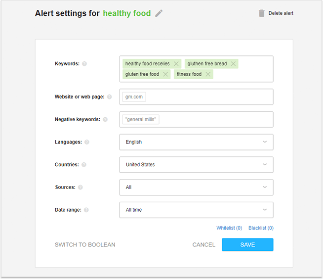 Set up an alert in your social listening tool